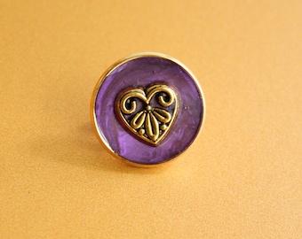 heart pin, lapel pin, tie tack, valentine gift, heather purple