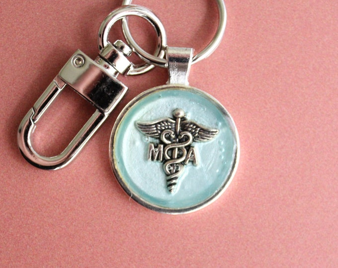 MA keychain, medical assistant keyring, unique gift, ice blue