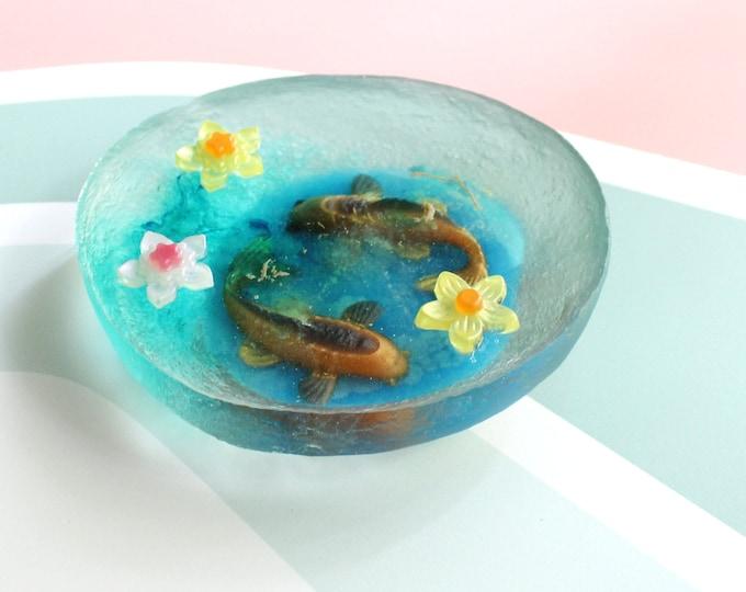 koi fish pond, table top decoration, micro landscape, hostess gift, unique gift, good luck, koi fish diorama