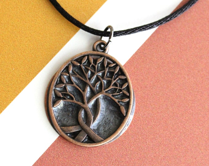 tree of life necklace, charcoal, Celtic necklace, mens jewelry, men's necklace, tree pendant, nature necklace, druid jewelry