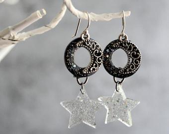 moon and star earrings on sterling silver ear wires, Halloween earrings, Halloween jewelry, crescent moon, star jewelry