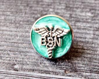 Bachelor of Science nursing pin, BSN pinning ceremony, nurse graduation gift, white coat ceremony, bright green