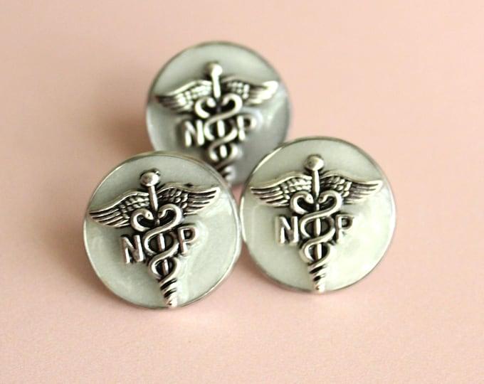 nurse practitioner pin, np pinning ceremony, nurse graduation gift, white coat ceremony, silvery white