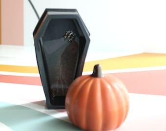 coffin wall hanging, wall art, trinket dish, Halloween decoration, spooky decor