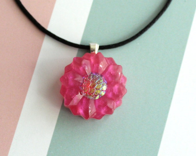 dahlia necklace, nature necklace, floral jewelry, boho style, unique gift, cord necklace
