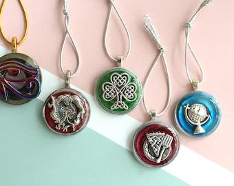 around the world ornaments, set of 5, table top tree ornaments, miniature tree, Chinese dragon, globe ornament, Shamrock ornament