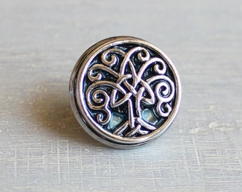 ice blue Celtic tree of life tie tack, mens gift, mens jewelry, groomsmen gift, wedding jewelry, father of the bride, anniversary gift