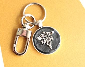 Master of Science nursing keychain, black, MSN keyring, MSN gift