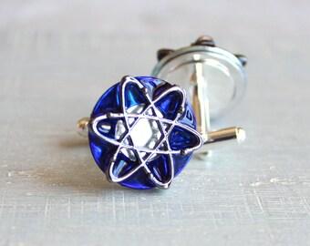 royal blue atom cufflinks, wedding jewelry, best man, mens jewelry, fiance gift, groom cufflinks, science jewelry, geekery, science teacher