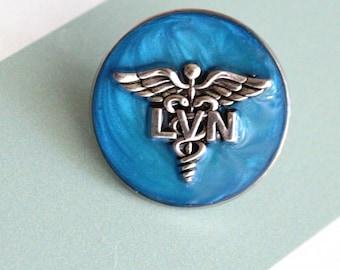 licensed vocational nurse pin, LVN pinning ceremony, white coat ceremony, dark blue, large