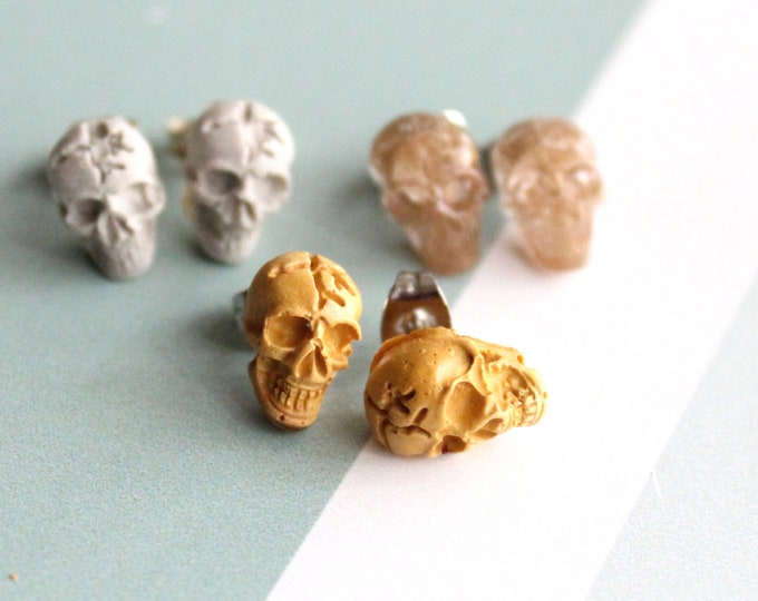 skull earrings with sterling silver posts, set of 3, unique gift, goth jewelry, Halloween earrings