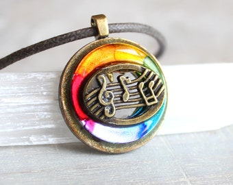 rainbow music necklace, musical jewelry, musical note, treble clef, music melody, musician gift, music lover, graduation gift, music teacher