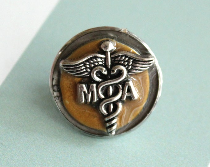 medical assistant pin, dark gold, MA pinning ceremony, white coat ceremony