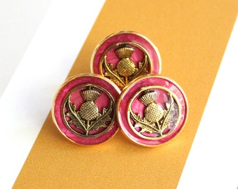 red and gold Scottish thistle tie tack, lapel pin, mens jewelry, Scottish jewelry, floral pin, unique gift