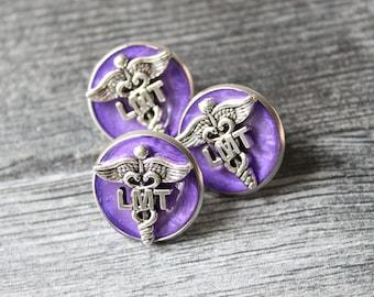 licensed massage therapist pin, LMT pinning ceremony, white coat ceremony, dark purple