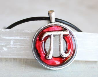 red pi necklace, pi jewelry, pi symbol, math necklace, teacher gift, graduation gift, math teacher, science jewelry, scientist gift
