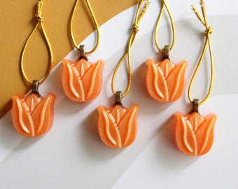 orange tulip ornaments, set of 5, table top tree ornaments, spring tree decorations, miniature tree, flower ornaments