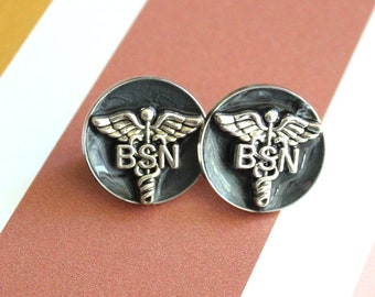 Bachelor of Science nursing pin, BSN pinning ceremony, nurse graduation gift, white coat ceremony, black