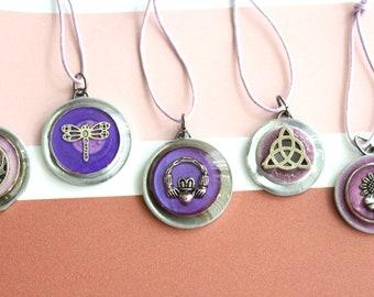 Scotland ornaments, set of 5, table top tree ornaments, miniature tree, Scottish thistle, hanging ornaments