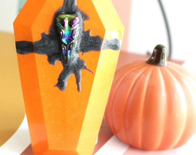coffin lid wall hanging, wall art, bird skull, Halloween decoration, spooky decor