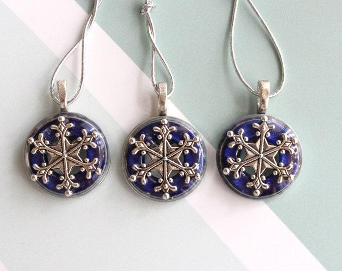 snowflake ornament, set of 3, royal blue, miniature tree, table top tree, tree ornament