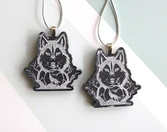 wolf ornaments, set of 2, mini tree, table top tree, Halloween tree, Christmas tree