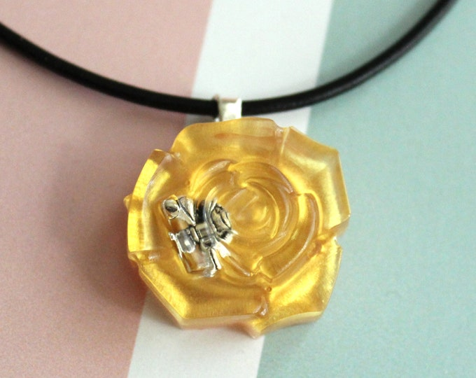 gold rose necklace, nature necklace, floral jewelry, boho style, unique gift, cord necklace