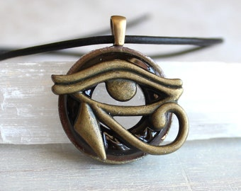 black cherry eye of horus necklace, mens jewelry, all seeing eye, mens necklace, Egyptian god, Egyptian symbol, The Wadjet, mens gift