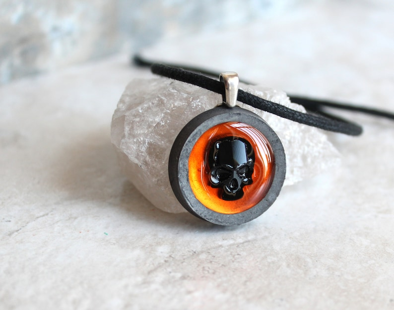 Orange Skull Necklace Skull Jewelry Halloween Necklace Etsy