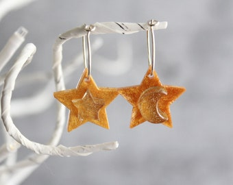 star earrings on sterling silver hoop, crescent moon, moon and star jewelry
