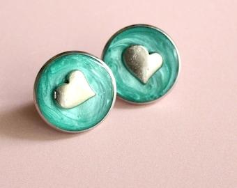 heart pin, lapel pin, tie tack, bright green, romantic gift