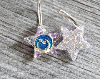 moon and star earrings on sterling silver hoop, celestial jewelry, unique gift, wiccan earrings, mismatched earrings