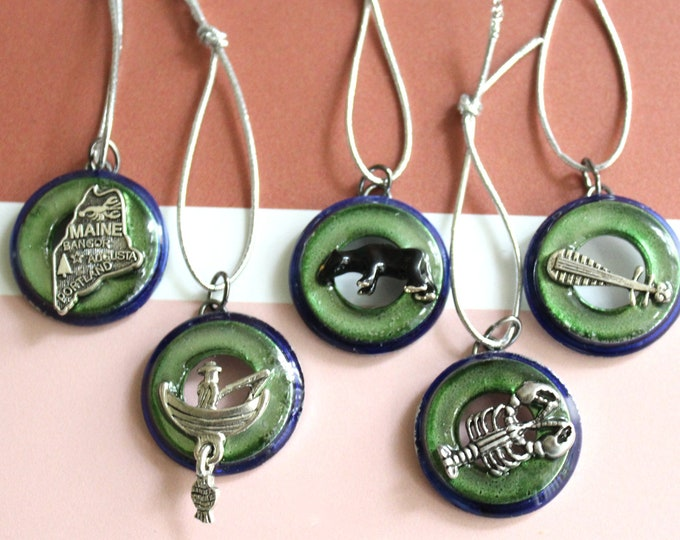 Maine ornaments, set of 5, table top tree ornaments, miniature tree, Christmas ornaments
