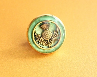 Scottish thistle pin, bright green and gold, lapel pin, tie tack, mens jewelry, unique gift