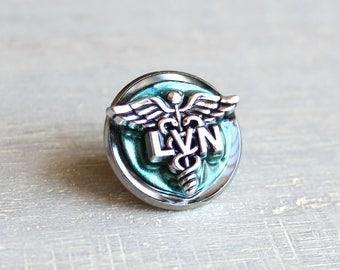 ice blue LVN pin, nursing pin, licensed vocational nurse, tie tack, graduation gift, nurse gift, nurse graduation, lvn graduation