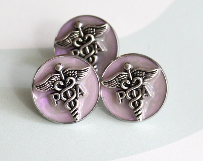 physician assistant pin, PA pinning ceremony, PA graduation gift, white coat ceremony, pink opal