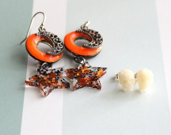 moon and star earrings on sterling silver ear wires with pair of skull stud earrings, Halloween earrings, Halloween jewelry, crescent moon