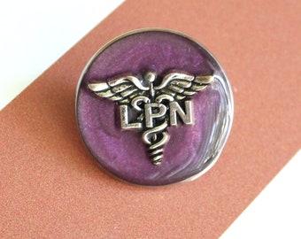 licensed practical nurse pin, LPN pinning ceremony, nurse graduation gift, white coat ceremony, purple, large