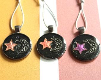crescent moon ornaments, fall tree ornaments, set of 3, miniature tree, table top tree, Halloween ornaments