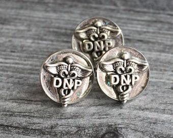 Doctor of nursing practice pin, DNP pinning ceremony, nurse graduation gift, white coat ceremony, silver