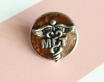 Medical Lab Technician pin, MLT pinning ceremony, white coat ceremony, bronze