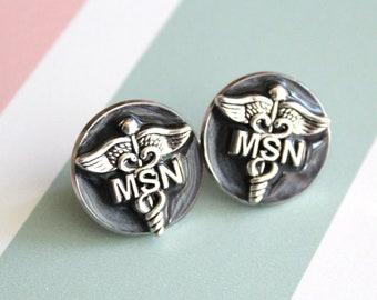 Master of Science nursing pin, black, MSN pinning ceremony, white coat ceremony