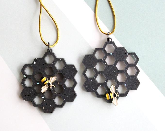 honeycomb ornaments, set of 2, black, miniature tree, spring ornaments, summer ornaments