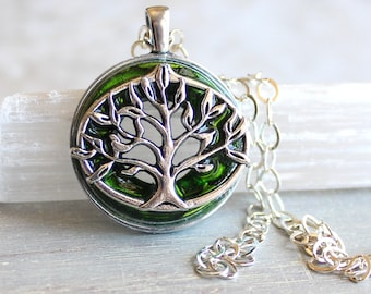 green tree of life necklace, nature necklace, tree jewelry, gift for her, wiccan jewelry, elven necklace, fantasy jewelry, forest jewelry