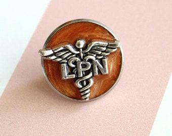 licensed practical nurse pin, LPN pinning ceremony, nurse graduation gift, white coat ceremony, orange