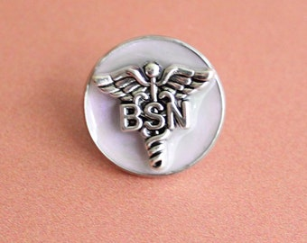 Bachelor of Science nursing pin, BSN pinning ceremony, nurse graduation gift, white coat ceremony, pink opal