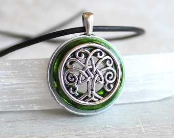 green Celtic tree of life necklace, tree jewelry, unique gift, nature necklace, elven jewelry, mens jewelry, celtic jewelry, mens gift