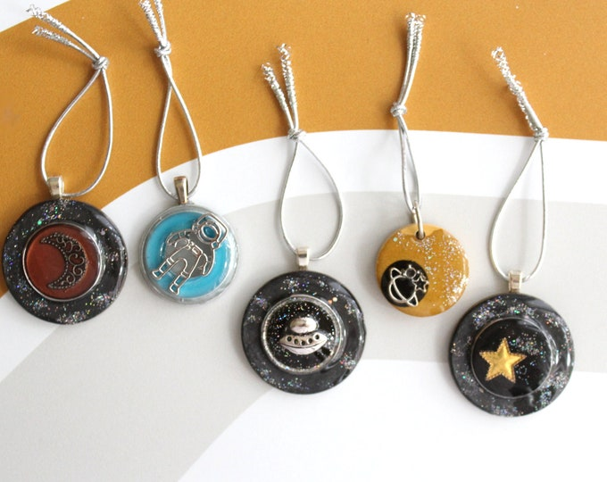 outer space tree ornaments, set of 5, table top tree, miniature tree decor, star ornament, moon ornament, ufo ornament, spaceman ornament