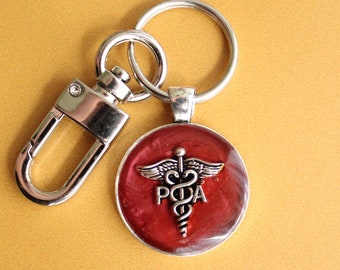 Physician assistant keychain, red wine, PA keyring, unique gift