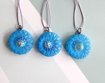 Chrysanthemum ornaments, set of 3, blue, table top tree ornaments, fall tree decorations, miniature tree, spring tree ornaments
